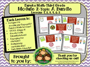 BUNDLE Module 2 Topic A Eureka Math 3rd Grade SmartBoard Lessons 1-5