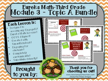 BUNDLE Module 3 Topic A Eureka Math 3rd Grade SmartBoard Lessons 1-3