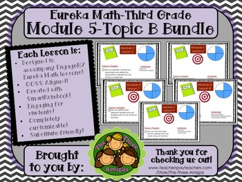 BUNDLE Module 5 Topic B Eureka Math 3rd Grade SmartBoard Lessons 5-9