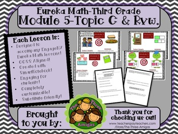 BUNDLE Module 5 Topic C Eureka Math 3rd Grade SmartBoard Lessons 10-13 & SG