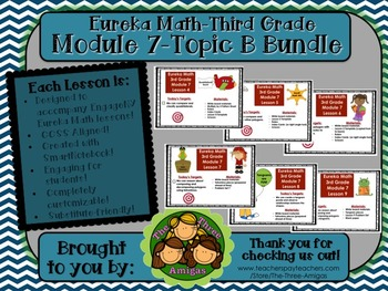 BUNDLE Module 7 Topic B Eureka Math 3rd Grade SmartBoard Lessons 4-9