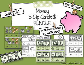 BUNDLE Money Clip Cards {Coin & Bill Recognition AND Counting Money}