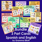 Montessori Bundle 3 Part Cards in Spanish and English