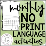 Monthly NO PRINT Language Pack Interactive PDF {With Print Option}