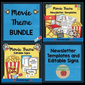 BUNDLE: Movie Theme Newsletters and Editable Signs