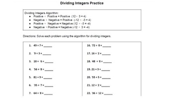 BUNDLE! Multiplying and Dividing Integers Practice -Worksheets-