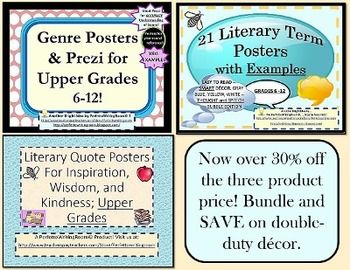 BUNDLE: Multipurpose Posters for UPPER LEVEL ELA (6-12) Decor and More.
