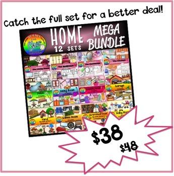 Home Clipart I (Living Room, Bedroom, Bathroom, Kitchen Furnitures)