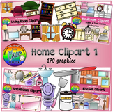 Home Clipart I (Living Room, Bedroom, Bathroom, Kitchen Fu