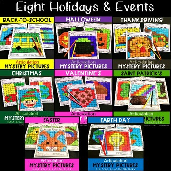 Mystery Pictures Seasons & Holidays for Speech Therapy: BUNDLE