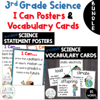BUNDLE- NGSS & Inspire Science I Can Posters & Vocabulary Word Wall - 3rd Grade