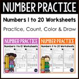 Number Practice 1-20 Worksheets - Number Sense Kindergarten BUNDLE