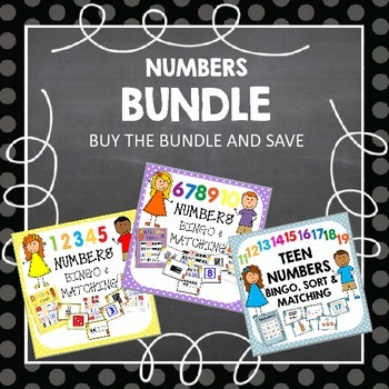 BUNDLE NUMBERS TO TEENS SORT, MATCH & BINGO
