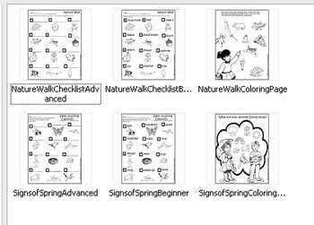 "BUNDLE ""Nature Walk & Spring Things"" 82 pc.Clip-Art (41BW, 41Color) 6 Print-Outs"