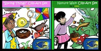"BUNDLE ""Nature Walk & Spring Things"" 82 pc.Clip-Art (41BW,"