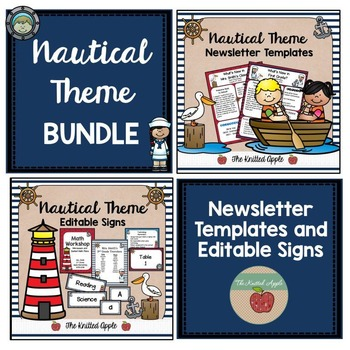 BUNDLE: Nautical Theme Newsletters and Editable Signs