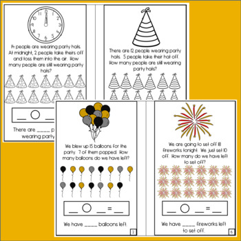 BUNDLE New Year's Eve Word Problem Books: Addition & Subtraction in 10 & 20