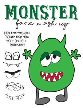 BUNDLE - No Prep 15 Halloween Coloring Pages and Monster Face Mash Up