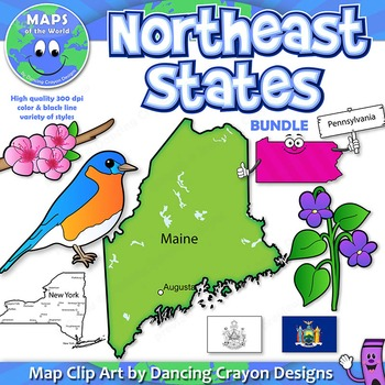 BUNDLE: Northeast Region State Symbols and Map Clipart by Maps of ...