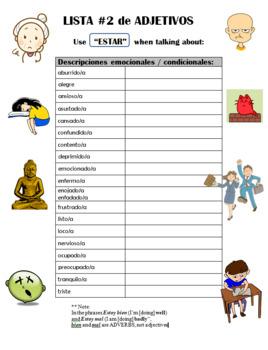 BUNDLE: Note sheets for Spanish adjectives - SER vs ESTAR