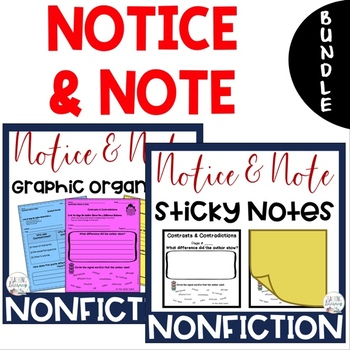 BUNDLE-Notice & Note NONFICTION Signpost Graphic Organizers&Sticky Note Template