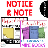 BUNDLE - Notice & Note Signpost Interactive Mini Books and Sticky Note Templates