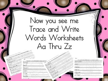 BUNDLE Now you See Me Trace and Wtite Worksheets