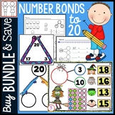 BUNDLE: Number Bonds to 20 Worksheets, Task Cards, Games
