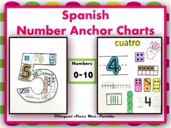 Numbers Anchor Charts-Posters 1-20 BUNDLE English&Spanish Bil StarsMrs.Partida