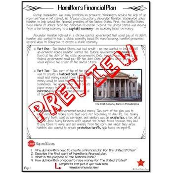 BUNDLE OF HAMILTON'S FINANCIAL PLAN  Reading and Cartoon Notes