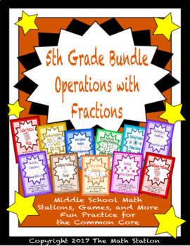 BUNDLE Operations with Fractions Math Stations for Fifth Grade Math