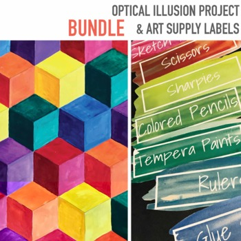 Optical Illusion Art project Classroom ART Supply Labels 184 plus EDITABLE