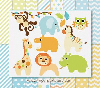 CLIPART BUNDLE - Baby Safari Animals (Boy)