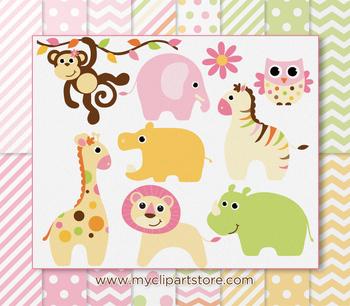 CLIPART BUNDLE - Baby Safari Animals (Girl)