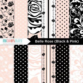 CLIPART BUNDLE - Belle Rose (Noir) / Paris / Wedding / Damask