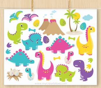 CLIPART BUNDLE - Dinosaur Fun (Girl)