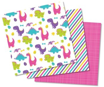 MINI BUNDLE - Dinosaur Fun (Girl), Clipart and Digital Papers