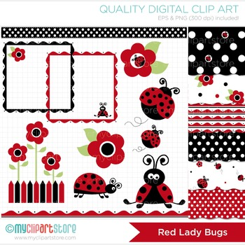 CLIPART BUNDLE - Ladybugs (red)