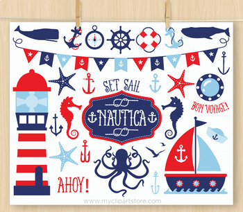 CLIPART BUNDLE - Nautica (boy) / Nautical / Sailing