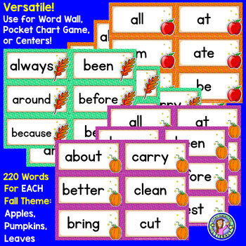 BUNDLE PACK {Pre-K - Gr 3} FALL Dolch Sight Word Cards/Pocket Chart Game