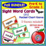 BUNDLE PACK {Pre-K - Gr 3} FALL Dolch Sight Word Cards/Poc