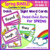 BUNDLE PACK {Pre-K - Gr 3} SPRING Dolch Sight Word Cards/Pocket Chart Game