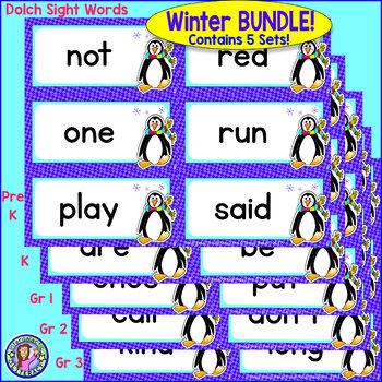 BUNDLE PACK {Pre-K - Gr 3} WINTER Dolch Sight Word Cards/Pocket Chart Game