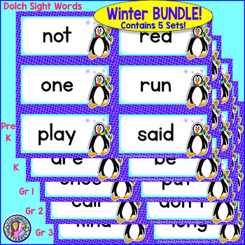 BUNDLE PACK {Pre-K - Gr 3} WINTER Dolch Sight Word Cards/Pocket Chart Game