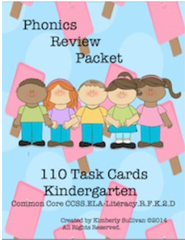BUNDLE PHONICS 110 TASK CARDS and 50 PRINTABLES No PREP    K - 1