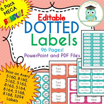 BUNDLE POLKA DOT Labels Editable Classroom Notebook Folder Name Tags (PARTY)