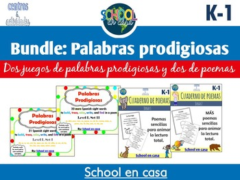 BUNDLE: Palabras prodigiosas Level 1 and Poetry Journals {Spanish}