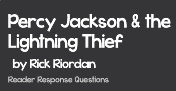 BUNDLE: Percy Jackson & the Lightning Thief Vocabulary Guide & Reading Response