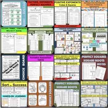 BUNDLE Perfect Squares & Square Roots 1-20 Student Activity Centers