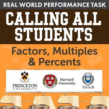 BUNDLE - Performance Task – Factors, Multiples, & Percents – Calling All Student